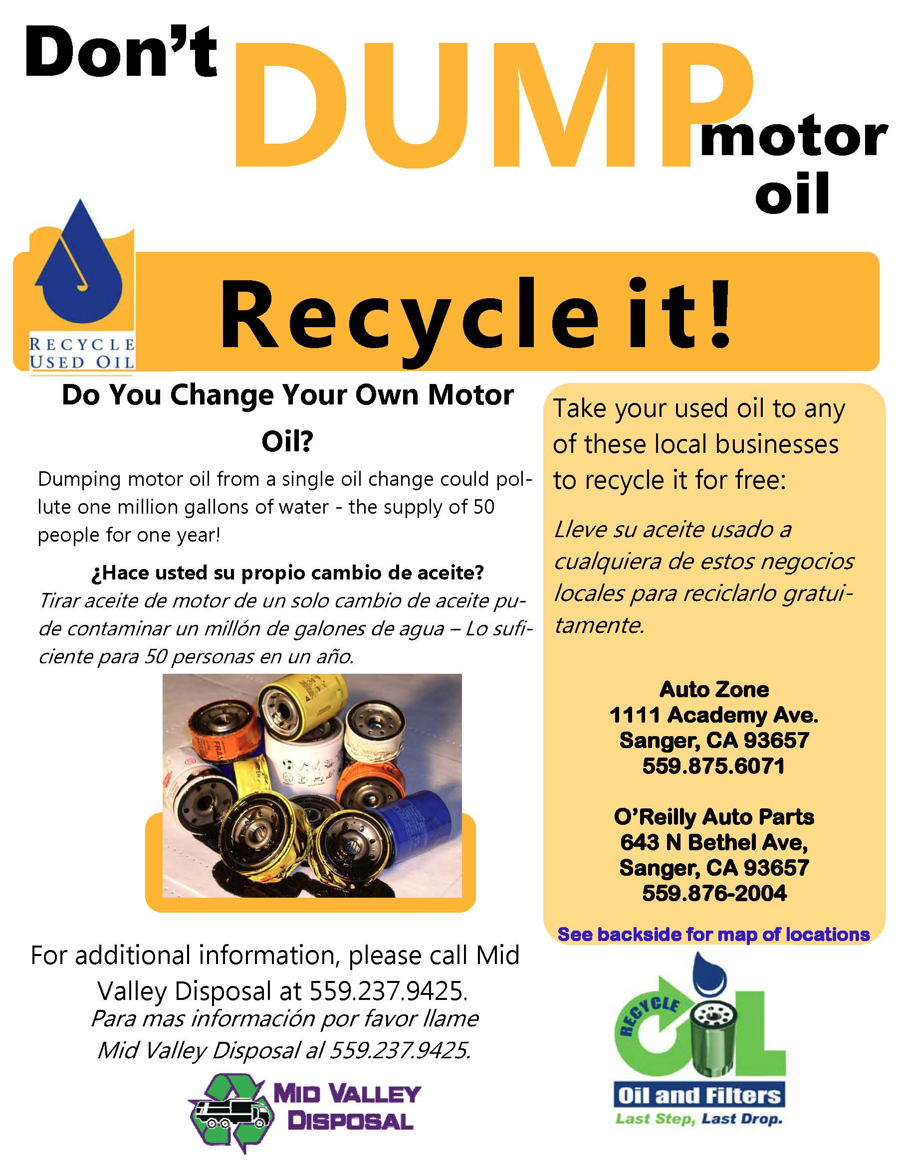 Drop off Oil sites Flyer