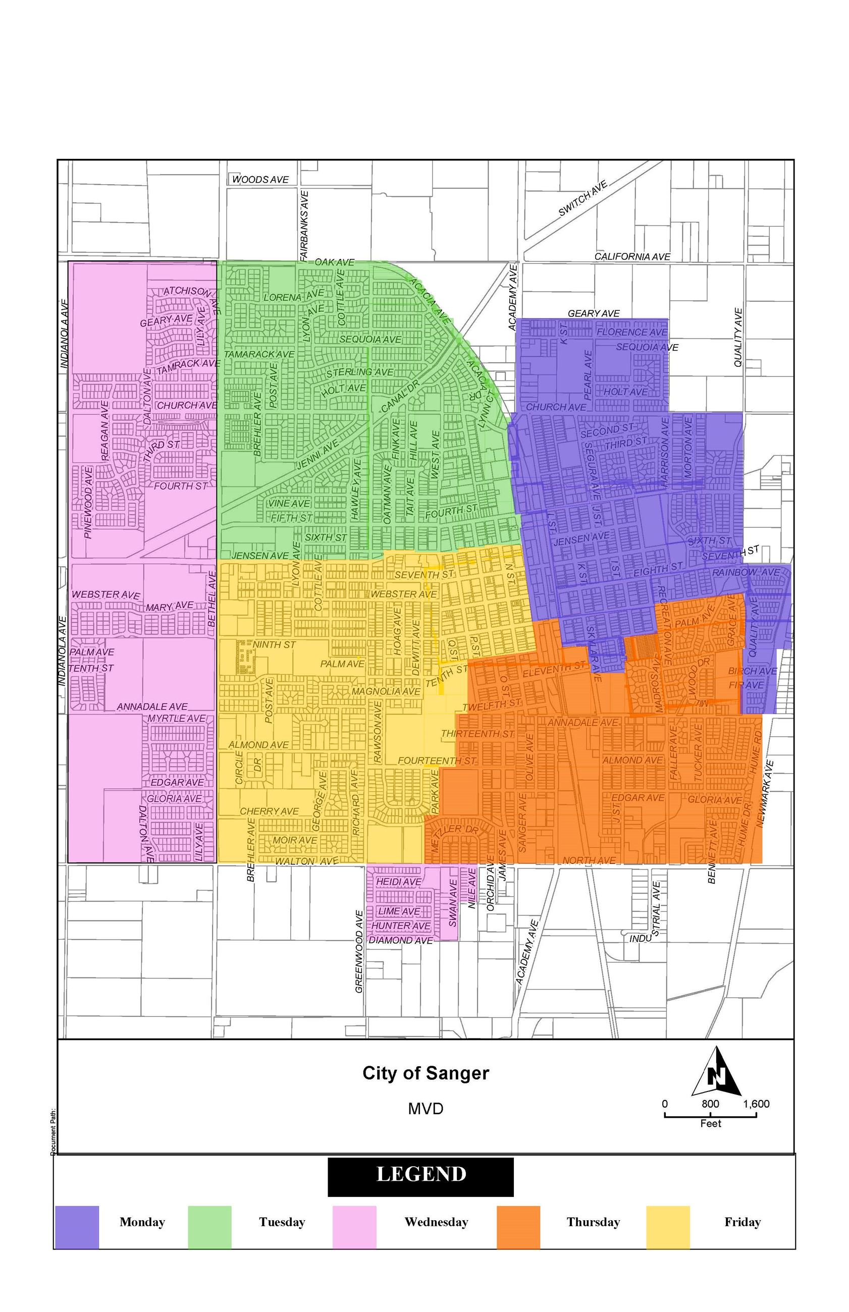 City of Sanger Garbage Collection Schedule Map - 2012 (JPG)